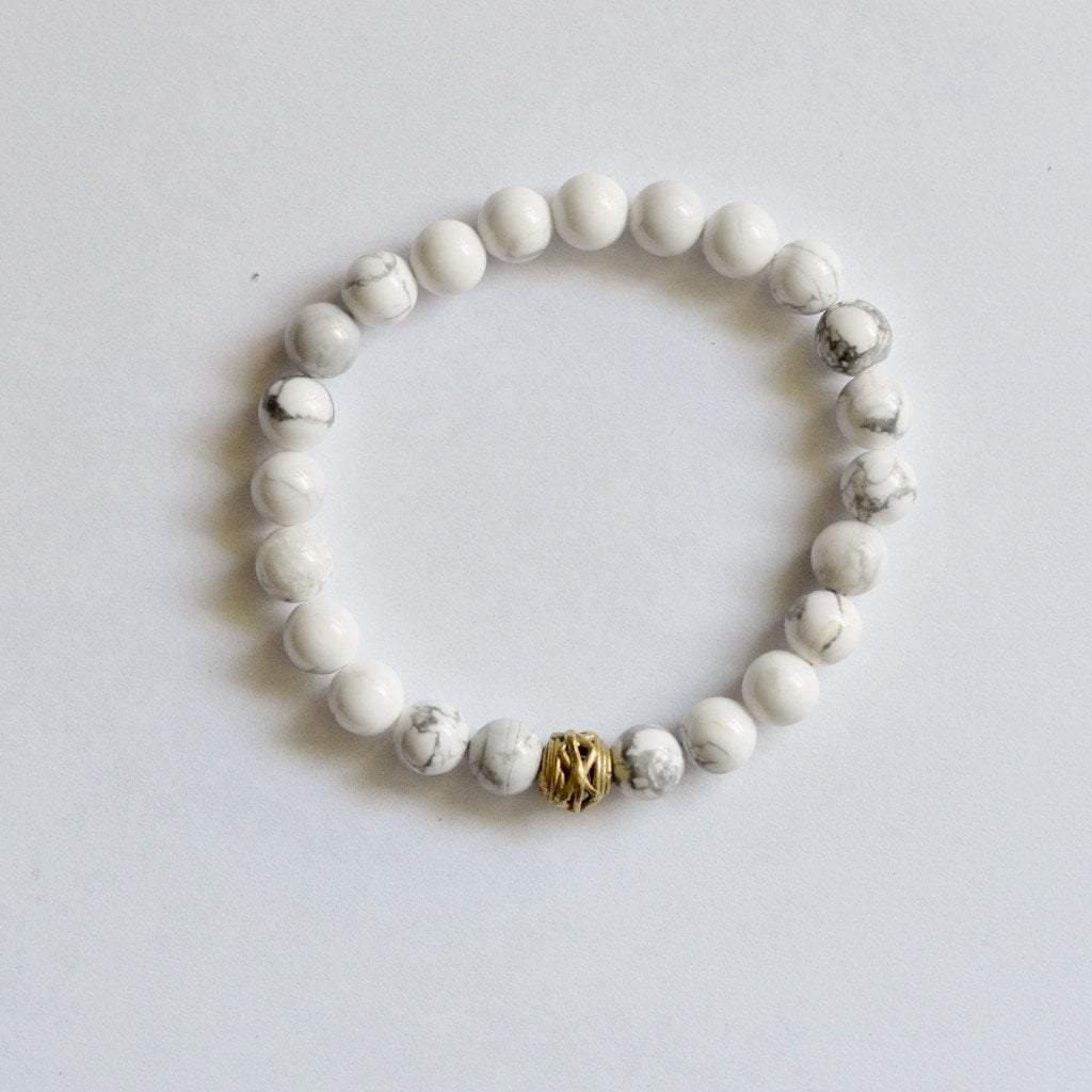 Howlite Gemstone Bracelet | Clarity, Forgiveness and Relaxation | Beaded Stretch Bracelet Bracelets Alora Boutique