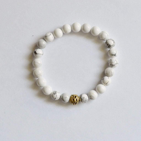 Howlite (White) Gemstone Stretch Bracelet - Healing Gems - Alora Boutique  - 1