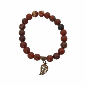 Appreciation, Empowerment, Understanding | Beaded Stretch Bracelet | Red Jasper Gemstone Bracelets Alora Boutique Brass Leaf