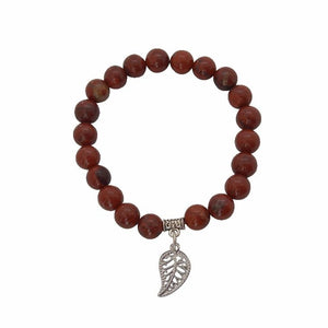 Appreciation, Empowerment, Understanding | Beaded Stretch Bracelet | Red Jasper Gemstone Bracelets Alora Boutique Silver Leaf