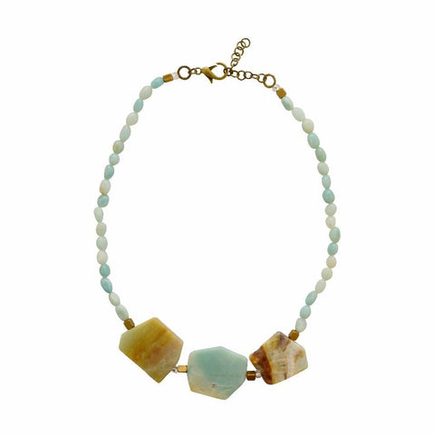 Courage, Compassion, Prosperity | Matte Amazonite Statement Gemstone Necklace - Alora Boutique - Jewelry with meaning that gives back fashion for good
