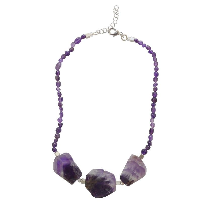 Awareness, Honesty, Protection | Amethyst Statement Gemstone Necklace