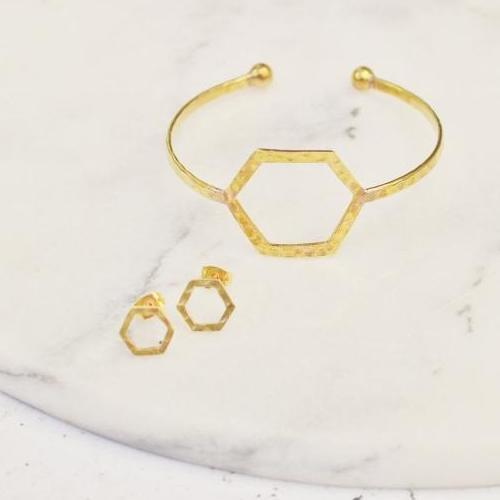 Empower Bangle | Hexagon | Sterling Silver or Brass