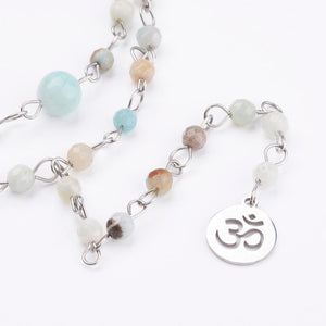 Amazonite Lariat Necklace | Layered Necklace
