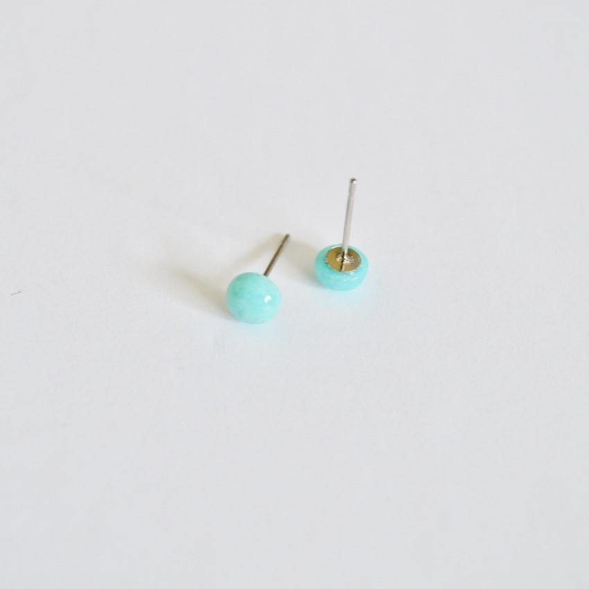 Round Gemstone Stud Earrings | Amazonite Gemstone - Alora Boutique - Jewelry with meaning that gives back fashion for good