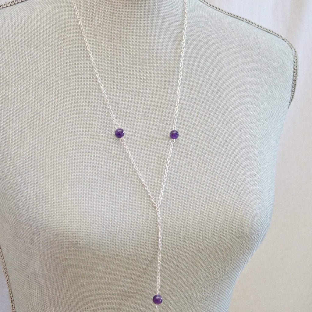 Lariat Necklace Amethyst February Birthstone Gemstone - Awareness, Honesty, Protection - Alora Boutique  - 5