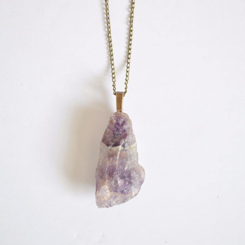 Raw amethyst gemstone pendant necklace gold and silver raw raw amethyst gemstone necklace pendant alora boutique 1 aloadofball Image collections