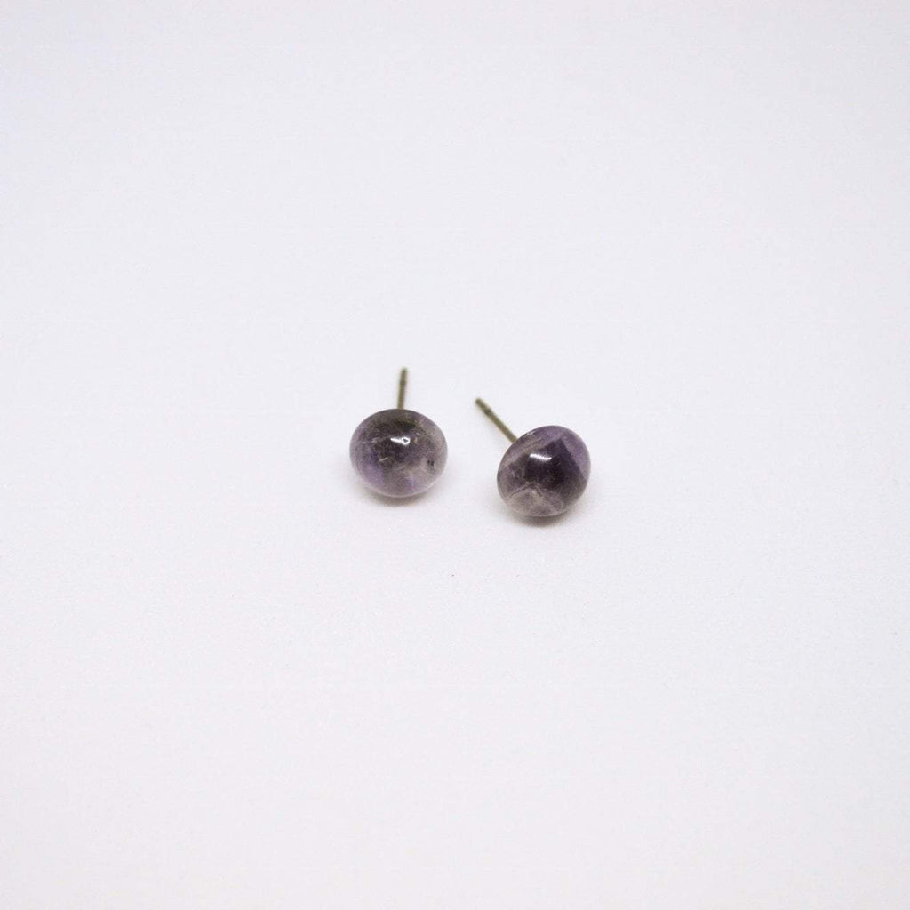 Round Amethyst Gemstone Stud Earrings - Alora Boutique - Jewelry with meaning that gives back fashion for good