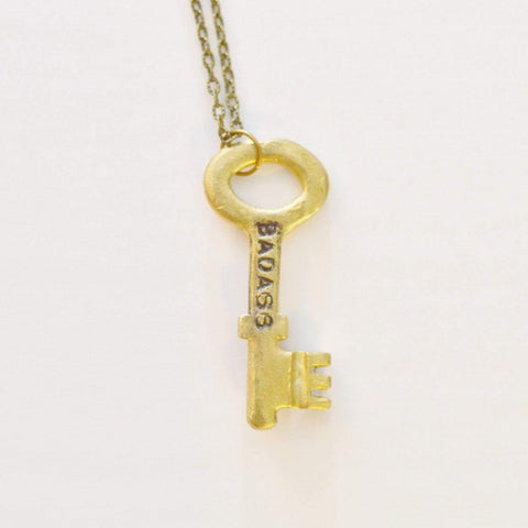 Unlock Your Inner Badass 'Badass' |  Key Necklace | Recycled Brass - Alora Boutique