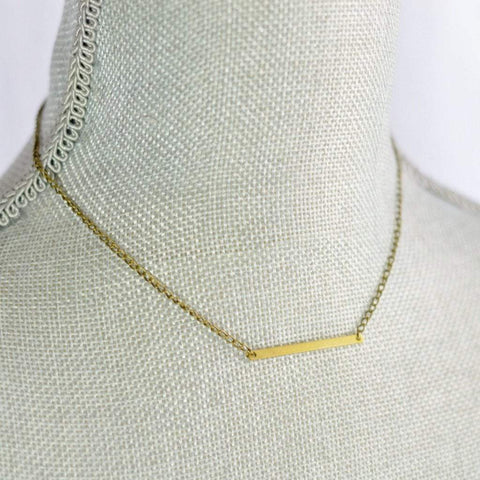 Balance | Thin Horizontal Bar Necklace | Brass - Alora Boutique