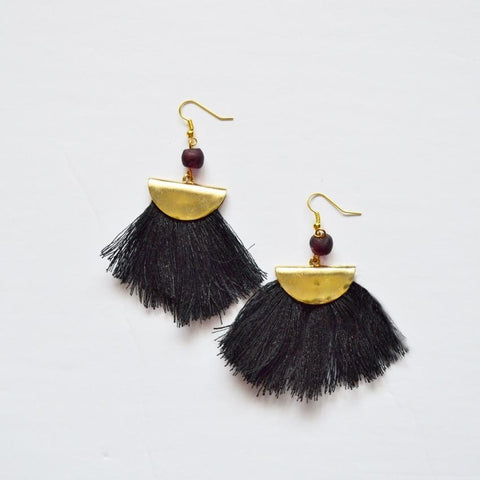 Your Shine is One of a Kind | Fan Fringe Earrings | Black