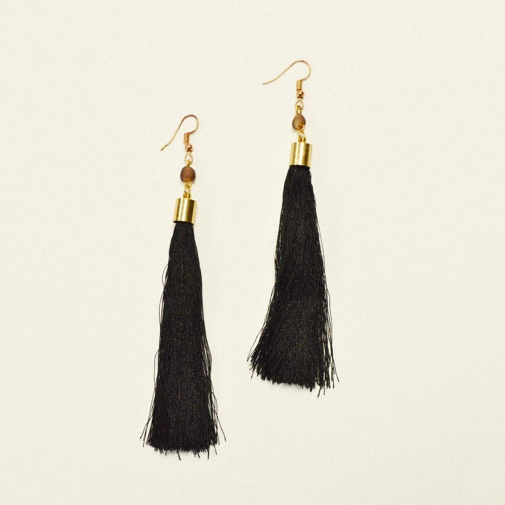 Your Shine is One of a Kind | Fringe Dangle Earrings | Jet Black
