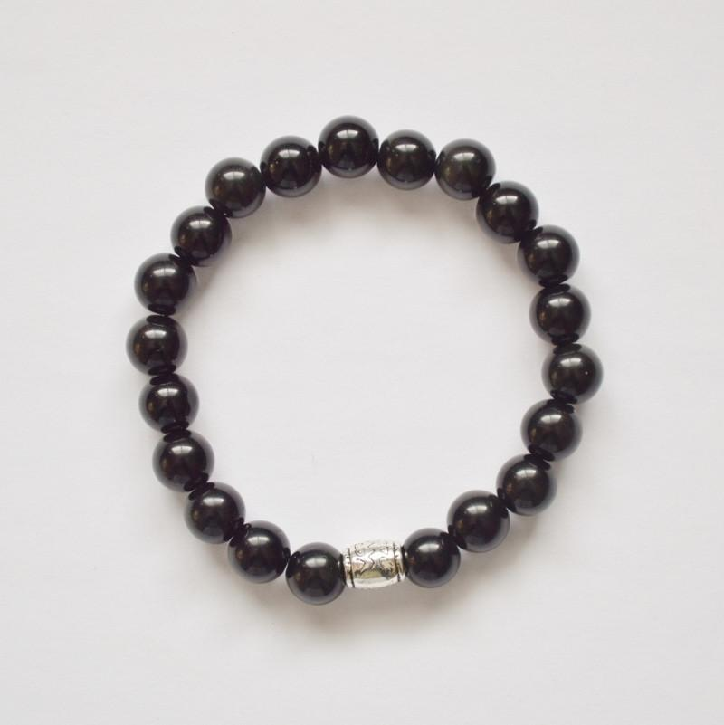 Obsidian (Black) Gemstone Stretch Bracelet - Alora Boutique  - 9