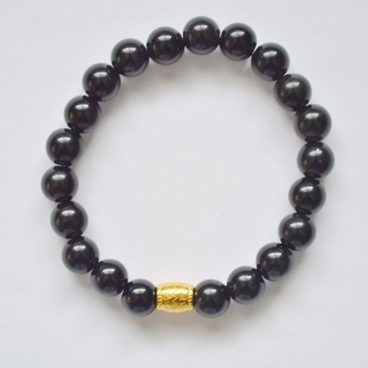 Strength, Courage and Determination | Beaded Stretch Bracelet | Obsidian Gemstone - Alora Boutique