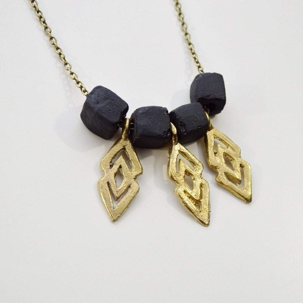 """Epa"" Statement ""Justice and Equality"" Recycled Brass Necklace - Black - Alora Boutique  - 8"