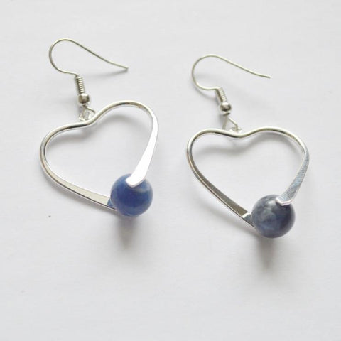 Sodalite Healing Gemstone Earrings | Silver Plated | Heart