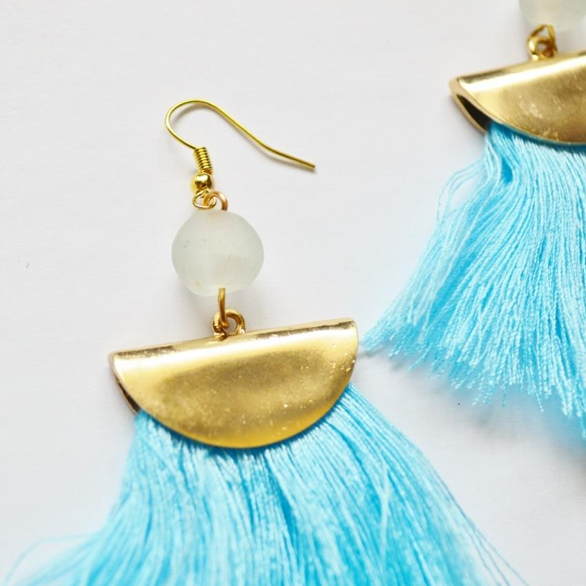 Fan Fringe Earrings | Blue - Alora Boutique