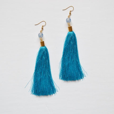 Shannon | Fringe Dangle Earrings | Blue - Alora Boutique