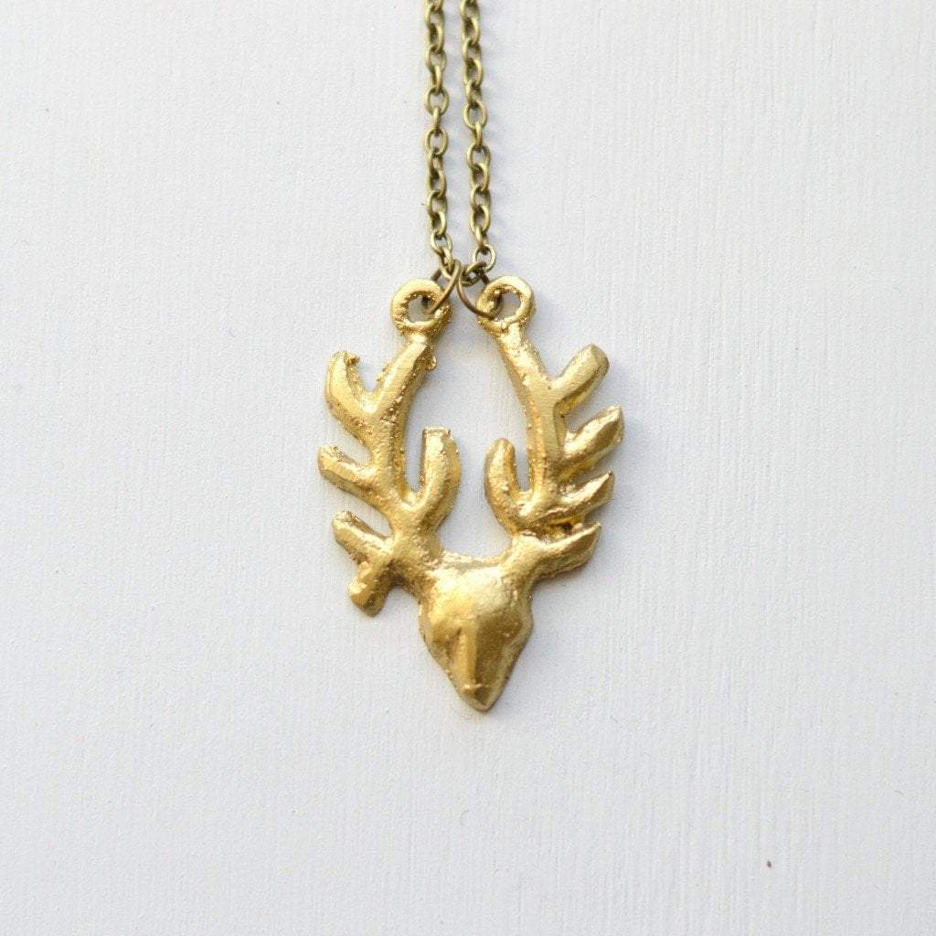 Antelope Pendant Necklace | Recycled Brass - Alora Boutique - Jewelry with meaning that gives back fashion for good