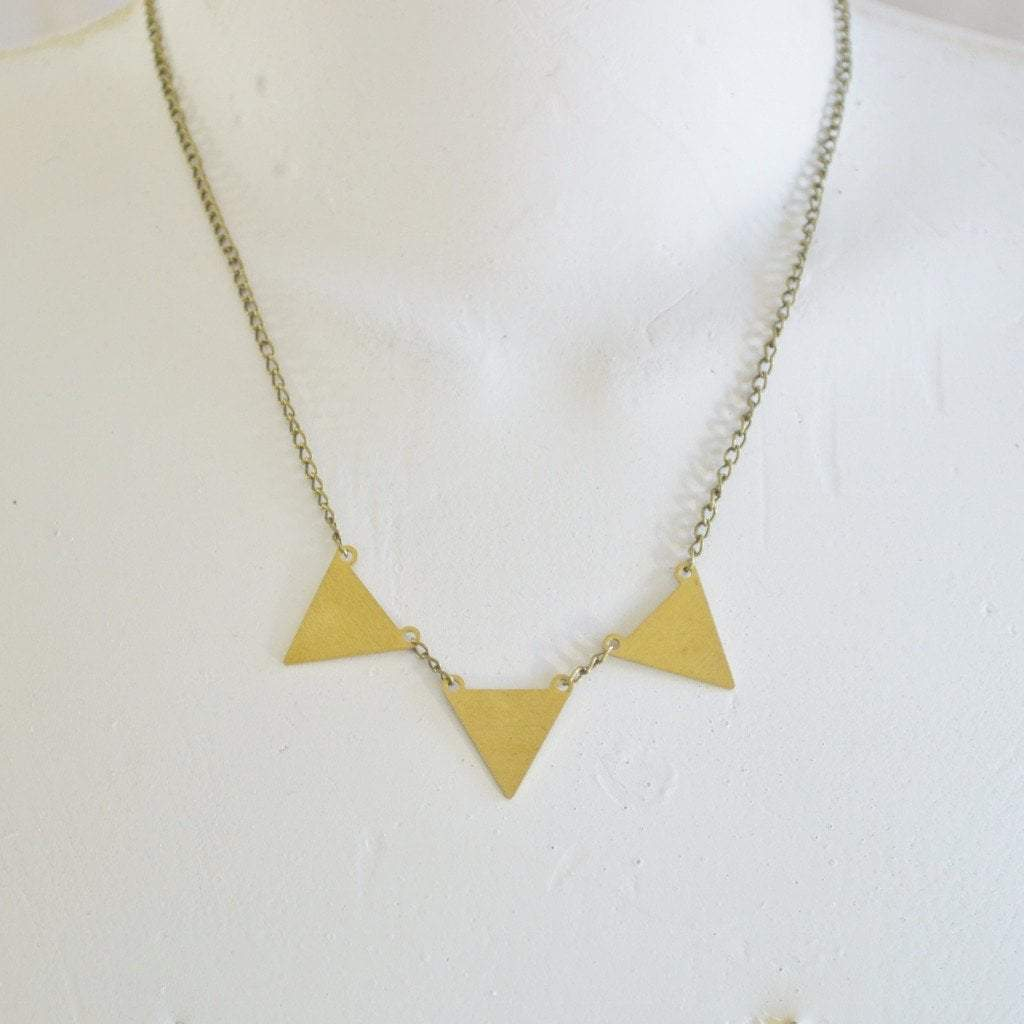 Be your own kind of beautiful Kira Geometric Triangle Necklace | Brass - Alora Boutique  - 1
