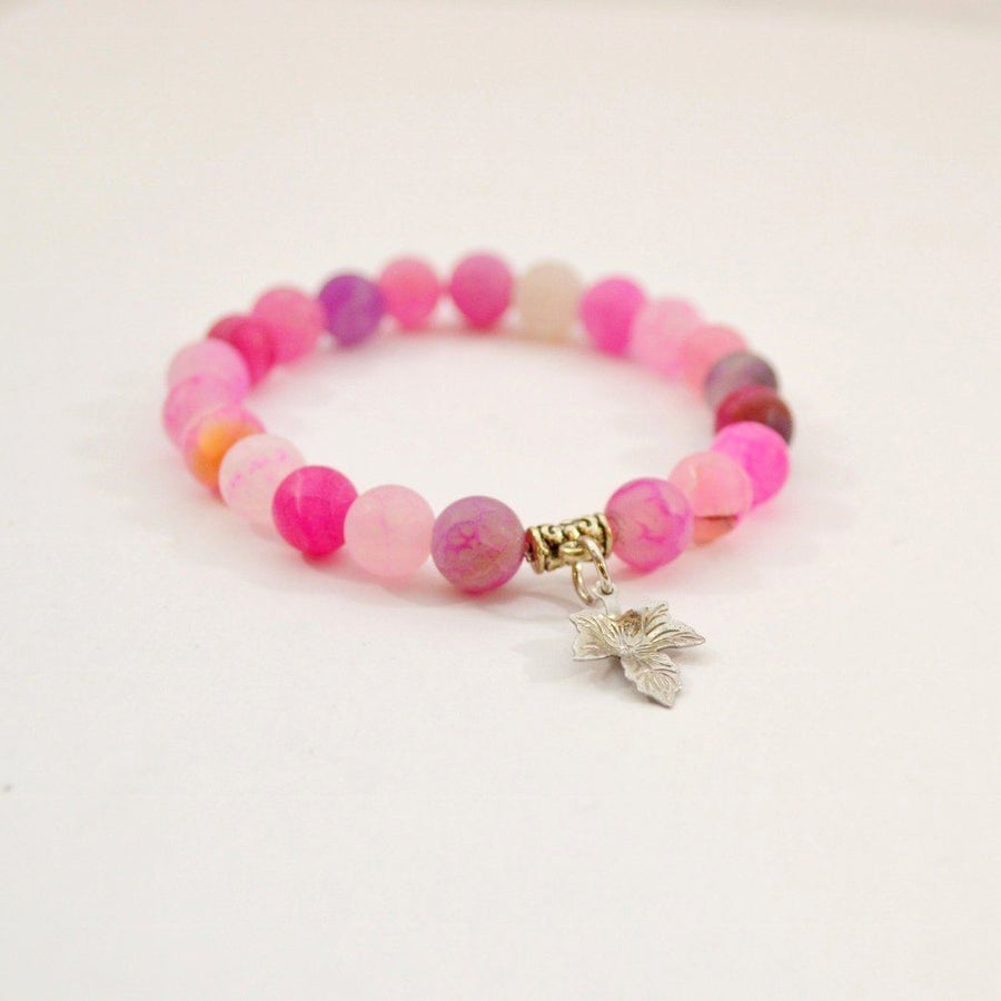 Pink Agate Canadian Maple Leaf Charm Gemstone Bracelet Bracelets Alora Boutique