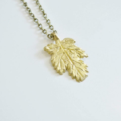 I LOVE Canada | Small Maple Leaf Necklace | Recycled Brass - Alora Boutique