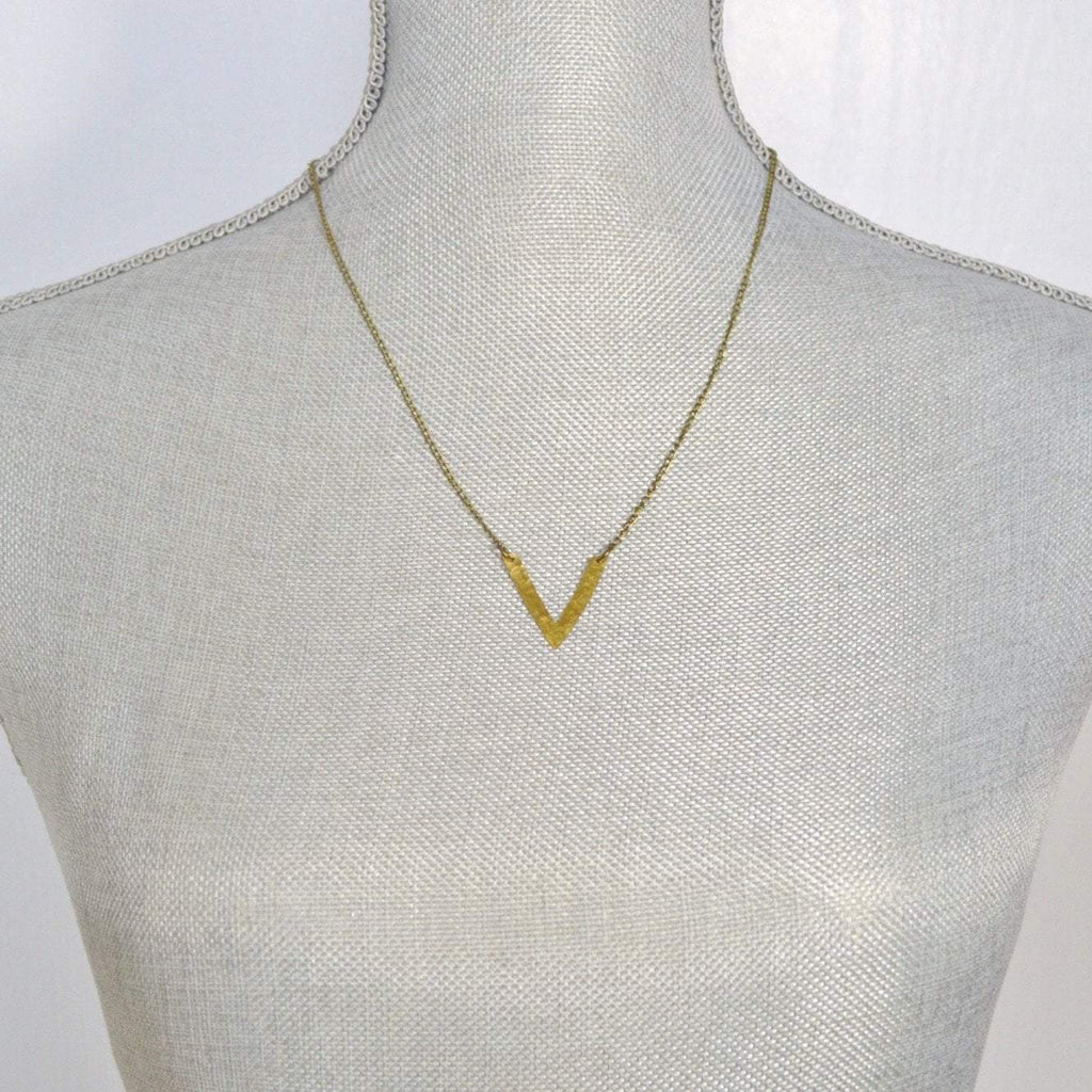 Be Your Own Kind of Beautiful | V Chevron Necklace | Brass - Alora Boutique