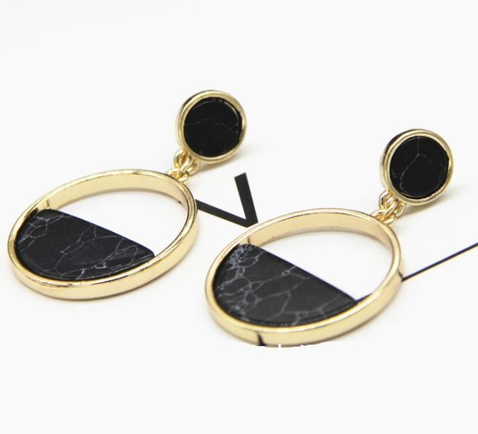 Fariza Double Circle Statement Stud Earrings - Black Marble