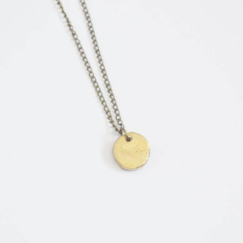 Circle of Life Disc Necklace - Recycled Brass - Alora Boutique  - 1