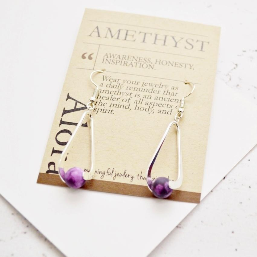 Upward Spiral Gemstone Dangle Earrings | 14K Gold and Silver | Matte Amethyst Gemstone - Alora Boutique