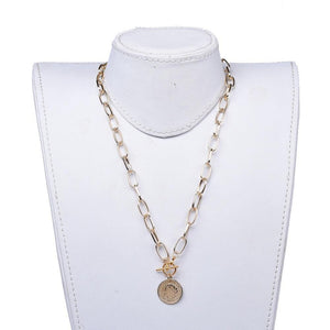 Coin Pendant Necklace Gold (Pre Order) - Alora Boutique