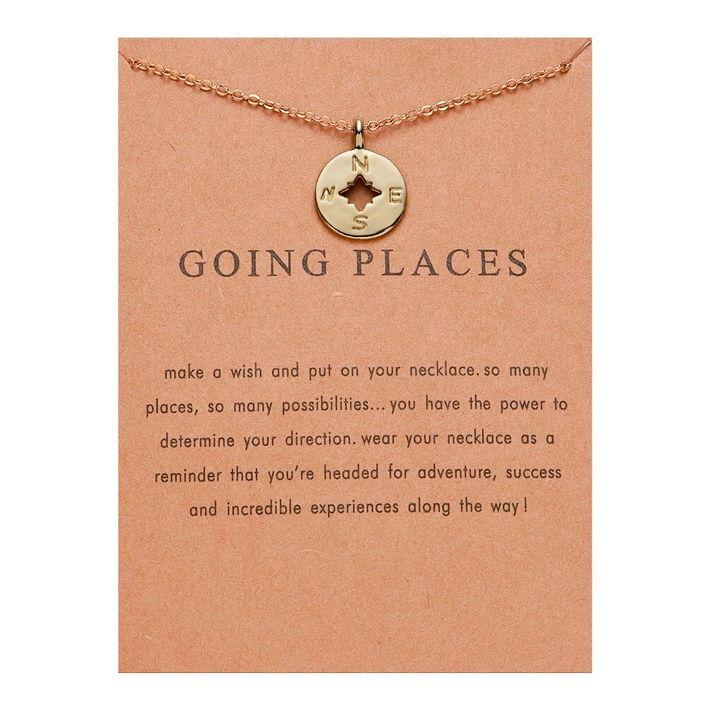 Meaningful Jewelry Gifts - Compass ' Going Places' Necklace Necklace Alora Boutique Going Places - Gold
