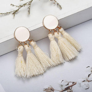 Shannon | Fringe Dangle Earrings Black, Purple, Cream