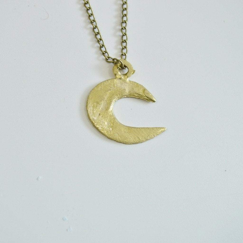 moon gold london necklace collection pendant crescent