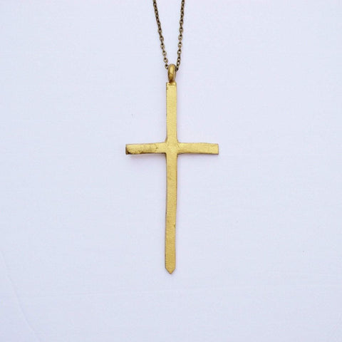 The Journey- Ruth | Thin Cross Necklace | Recycled Brass - Alora Boutique