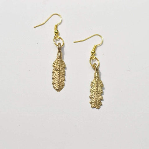 Free Spirit | Feather Dangle| Earrings | Recycled Brass - Alora Boutique