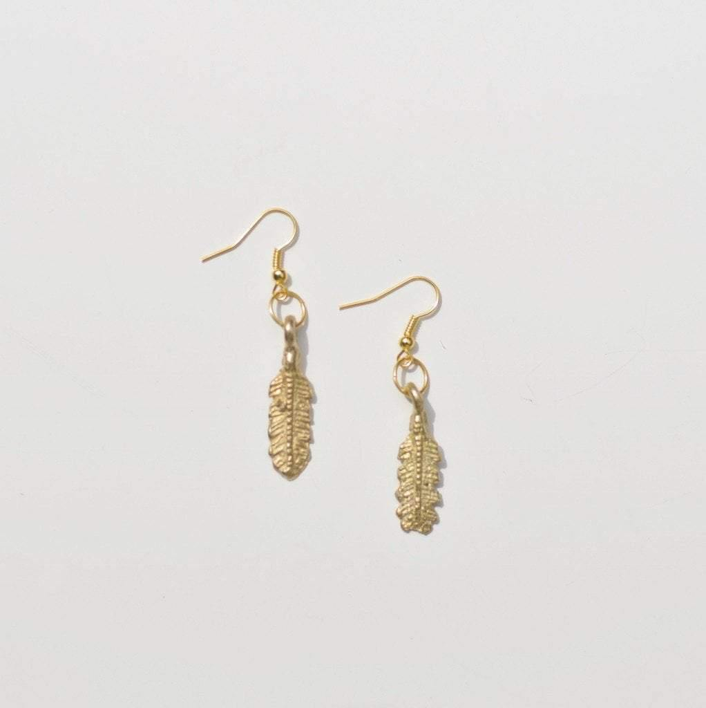 Free Spirit | Feather Dangle| Earrings | Recycled Brass - Alora Boutique - Jewelry with meaning that gives back fashion for good