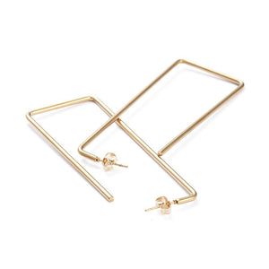 Veena Drop Hoop Earrings - Long Rectangles (2 styles!) - Alora Boutique