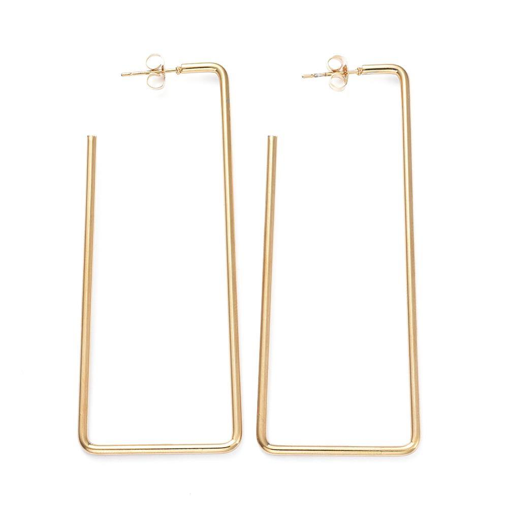 Veena Drop Hoop Earrings - Long Rectangles (2 styles!)