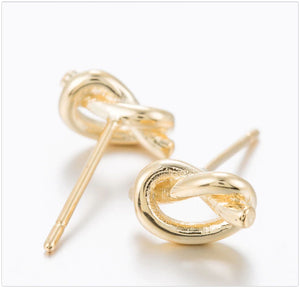 Knot Stud Earrings Earrings Alora Boutique Brass