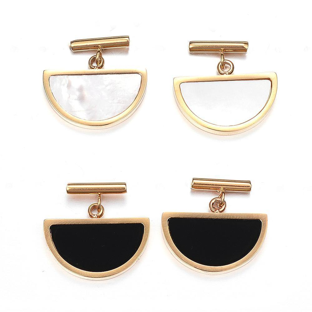 Oriella Geometric Stud Earrings - Black and Cream - Alora Boutique