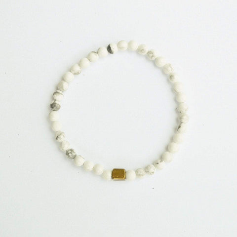 Clarity, Forgiveness and Relaxation | Delicate Beaded Stretch Bracelet | Howlite Gemstone - Alora Boutique