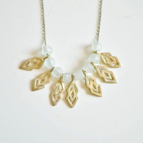 "Epa Statement ""Justice and Equality"" Recycled Brass Necklace - White - Alora Boutique  - 1"