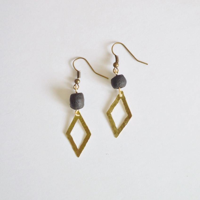 Dare to Be Your Own Person Raw Brass Diamond Earrings - Alora Boutique  - 1