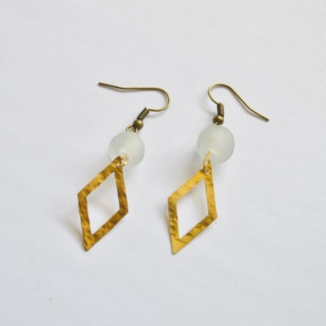 Dare To Be Your Own Person | Open Diamond Dangle Earrings | Brass