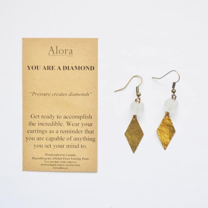 You are a Diamond | Brass | Solid Diamond Earrings