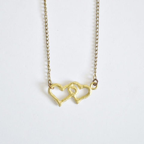 "Interlocking Hearts Necklace ""Akoma"" Delicate Recycled Brass Necklace 