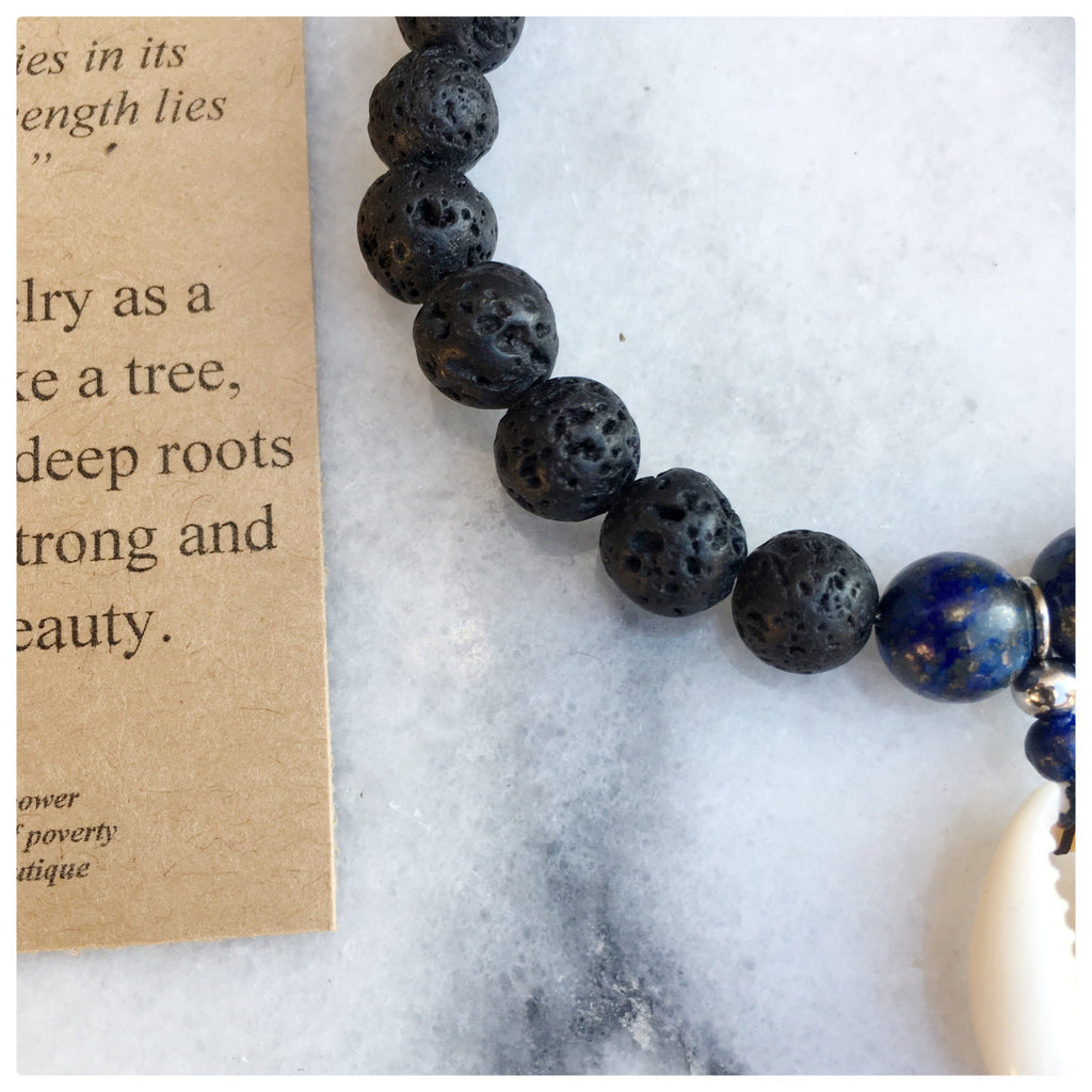 Amora - True Beauty Lapis Puka Shell Gemstone Bracelet