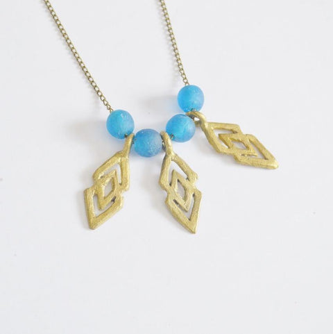 "Epa Statement ""Justice and Equality"" Recycled Brass Necklace - Blue - Alora Boutique  - 1"