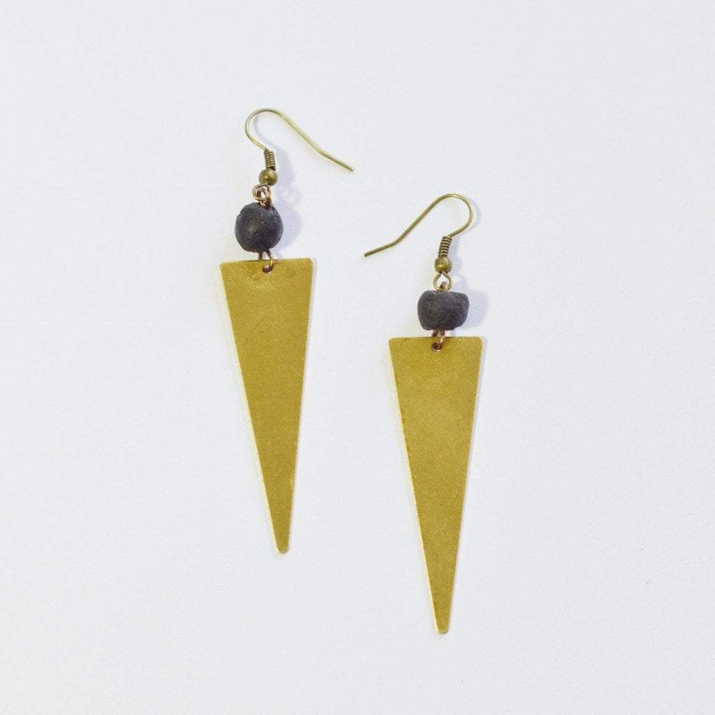 Dare to Be Your Own Person Raw Brass Triangle Earrings - Alora Boutique  - 5